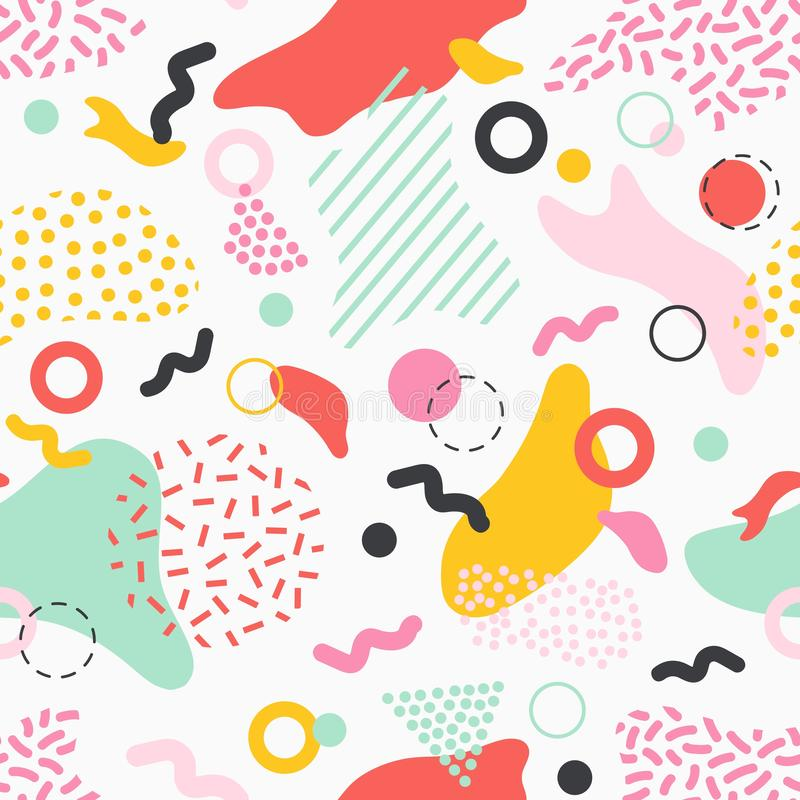 Creative seamless pattern with colorful stains, lines and shapes of various texture on white background. Stylish stock illustration