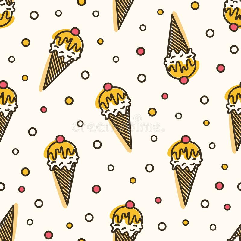 Creative seamless pattern with ice cream in wafer, waffle or sugar cone. Backdrop with delicious frozen dessert. Vector vector illustration