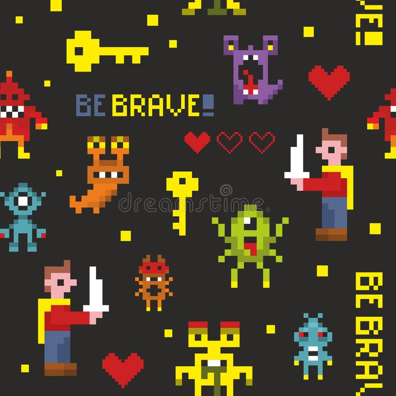 Creative seamless pattern with pixel monsters and brave knights. Vector illustration in pixel style stock illustration