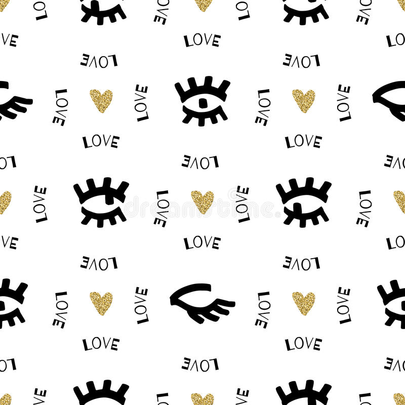 Creative seamless pattern, Sketch eyes hand-drawn black marker, gold hearts. Creative artistic seamless pattern, Sketch collage eyes hand-drawn black marker royalty free illustration