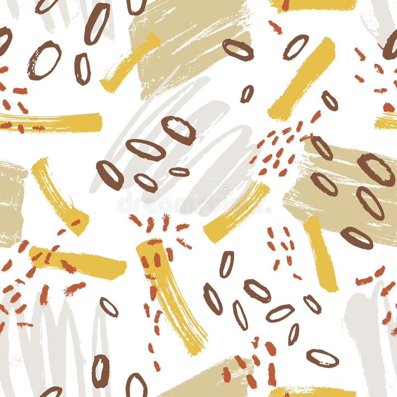 Creative seamless pattern with vivid paint smears, smudges, blots, scribble on white background. Cool hand painted. Vector illustration in modern style for stock illustration