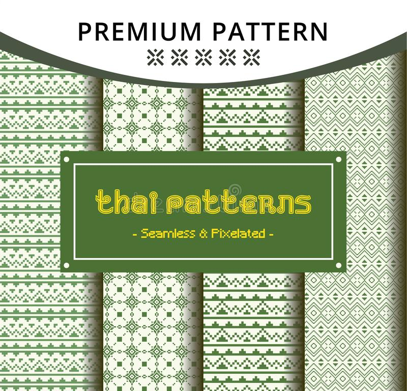 Creative Seamless Traditional Thai Pattern Template in Pixel Style royalty free illustration