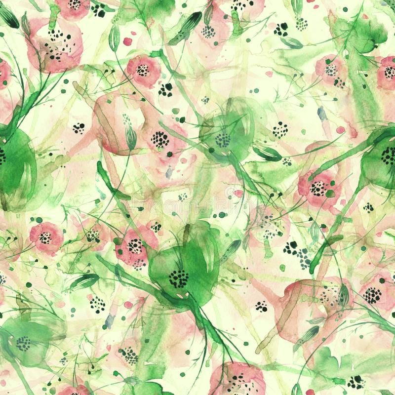 Creative seamless watercolor pattern of plants, Herbs, flowers, poppy, rose, peony. red, burgundy, black,blue, white flowers stock illustration