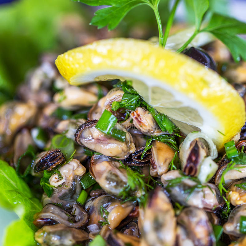 Creative serving fried mussels with herbs