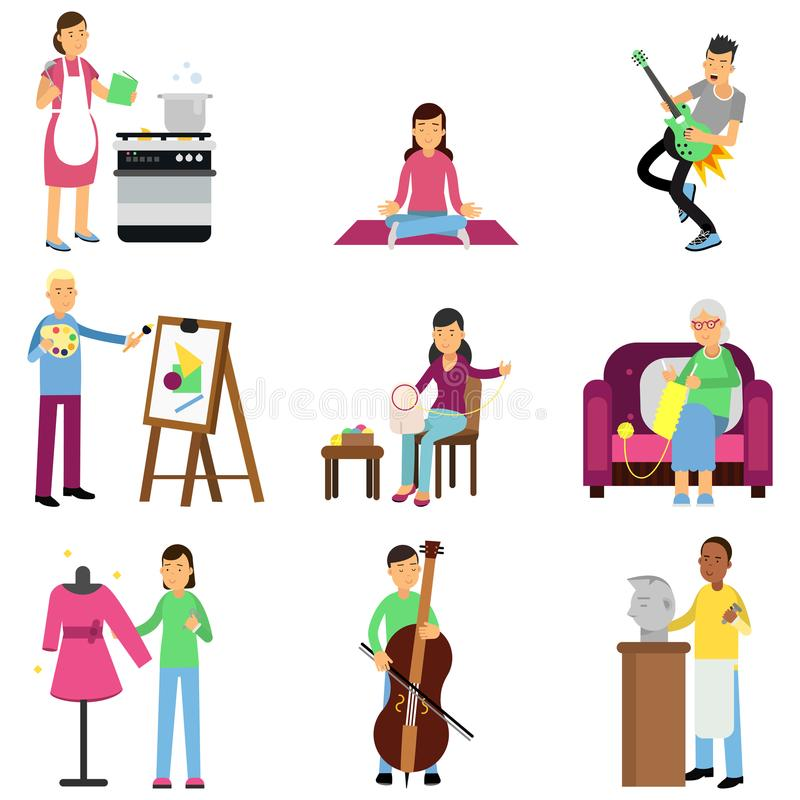 Creative set of adult people and their hobbies. Cooking, painting, playing guitar and bass, embroidery, knitting, sewing vector illustration