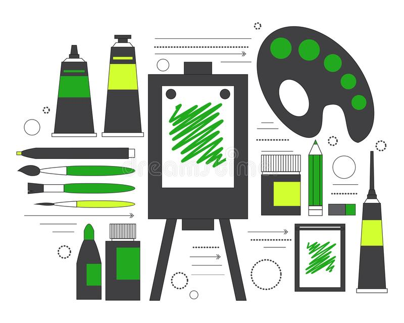 Creative set for artist. Ideas, creativity, design. Tools and materials paint, brushes, markers , pencil, easel, palette. Line art royalty free illustration