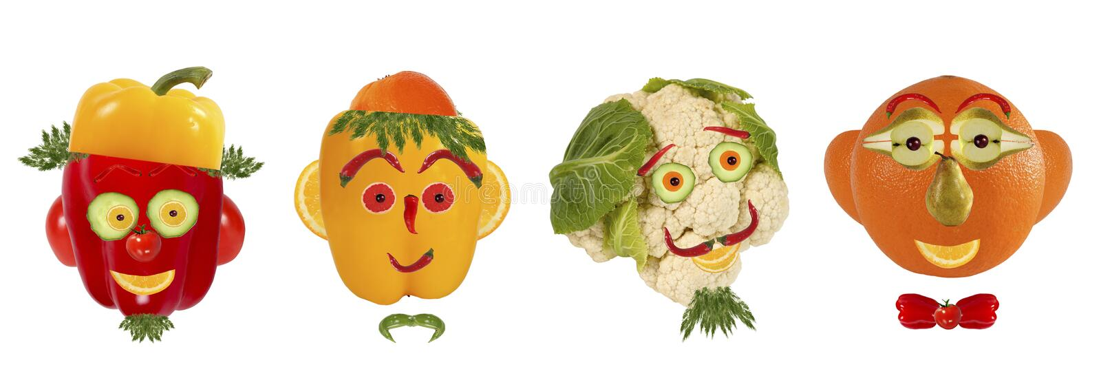 Creative set of food concept. A few funny portraits from vegeta royalty free stock image