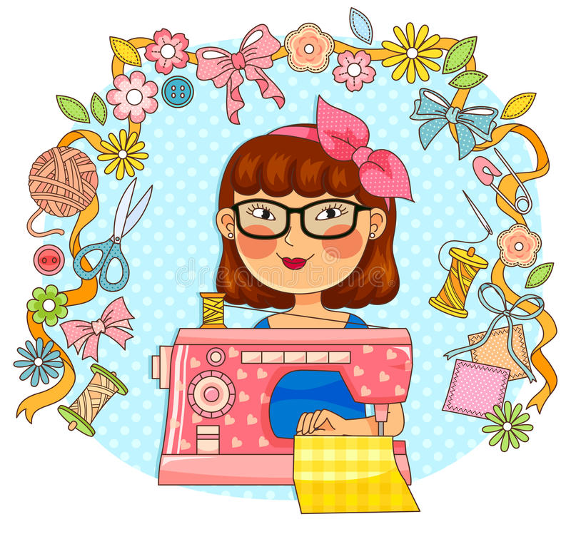 Creative sewing vector illustration