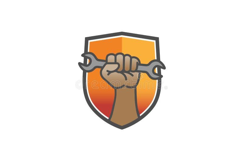 Creative Shield Service Wrench Hand Logo Design Vector Illustration. Creative Shield Service Wrench Hand Logo Design Vector stock illustration