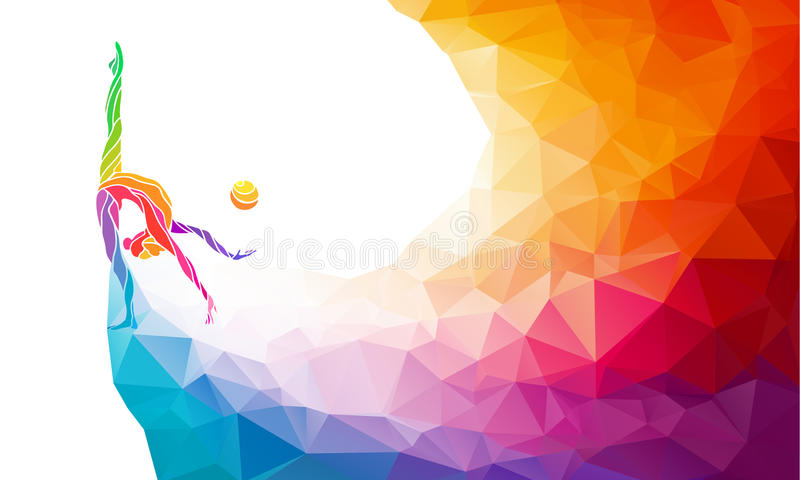 Creative silhouette of gymnastic girl. Art. Gymnastics with ball, colorful vector illustration with background or banner template in trendy abstract colorful royalty free illustration
