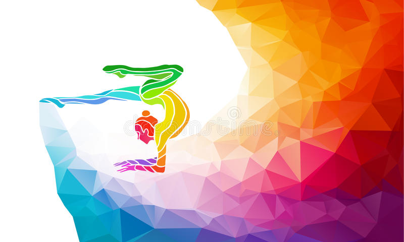 Creative silhouette of gymnastic girl. Art. Gymnastics with ball, colorful vector illustration with background or banner template in trendy abstract colorful vector illustration