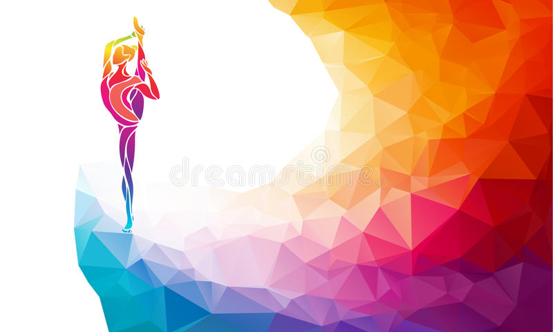 Creative silhouette of gymnastic girl. Art gymnastics vector. Creative silhouette of gymnastic girl. Art gymnastics, colorful vector illustration with background stock illustration