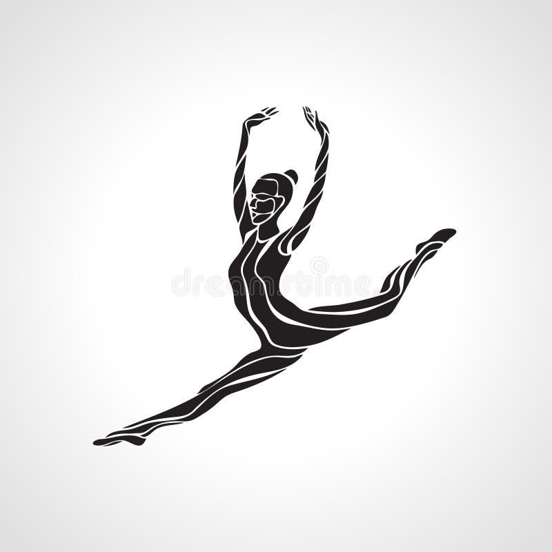 Creative silhouette of gymnastic girl. Art. Rhythmic gymnastics, black and white vector illustration stock illustration