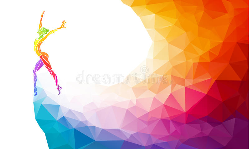 Creative silhouette of gymnastic girl. Fitness. Creative silhouette of gymnastic girl. Art gymnastics, colorful vector illustration with background or banner royalty free illustration