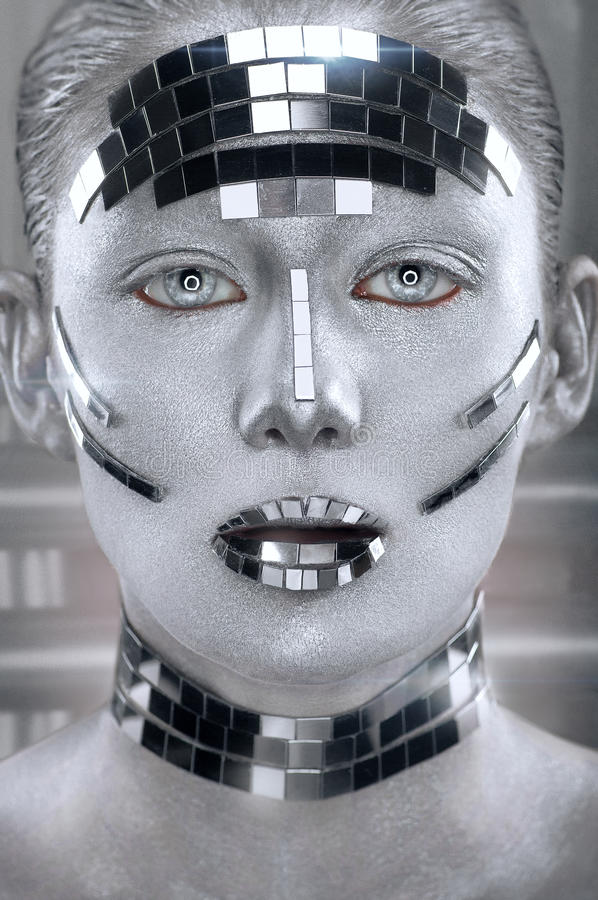 Creative silver makeup with mirror shatters royalty free stock image