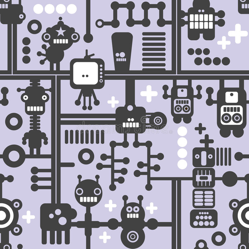 Creative simple background with small robots. royalty free illustration