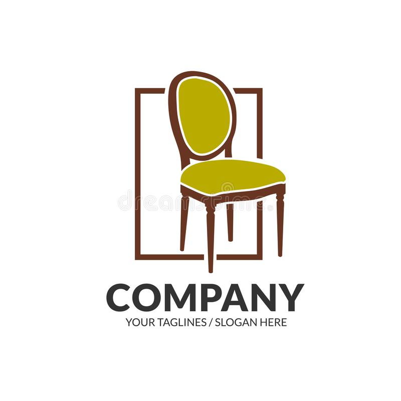 Chair furniture logo. Creative simple chair furniture logo design concept stock illustration