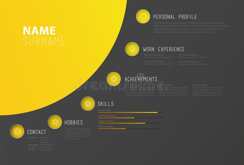 Creative simple cv template with colorful circles shapes. Vector art royalty free illustration