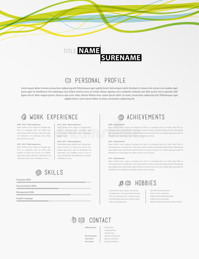 Creative Simple Cv Template With Colorful Lines In Header Stock