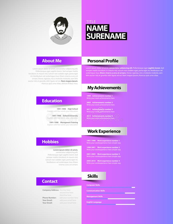 creative simple cv template with colorful stripes  stock