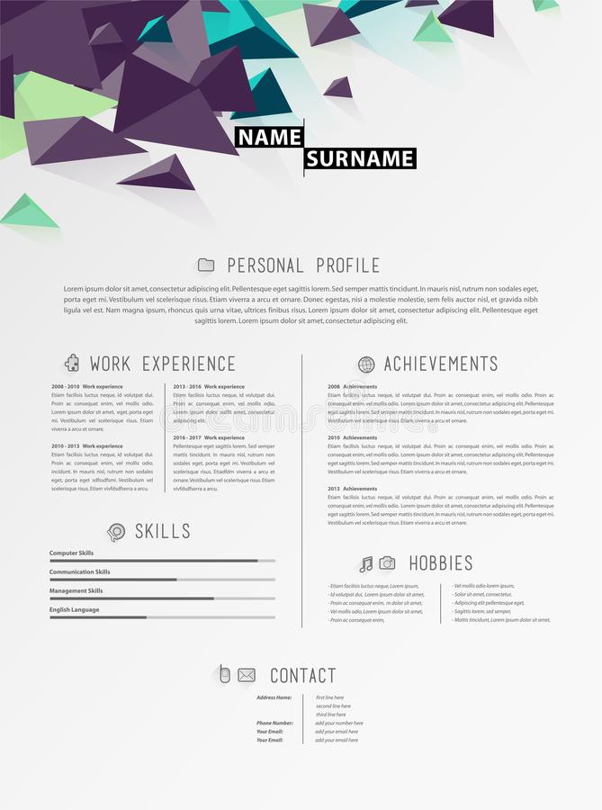 Creative simple cv template with triangle shapes in header. Vector art vector illustration