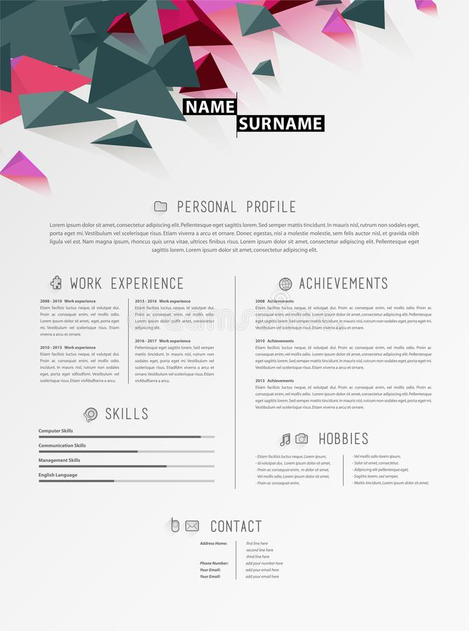 Creative simple cv template with triangle shapes in header. Vector art royalty free illustration