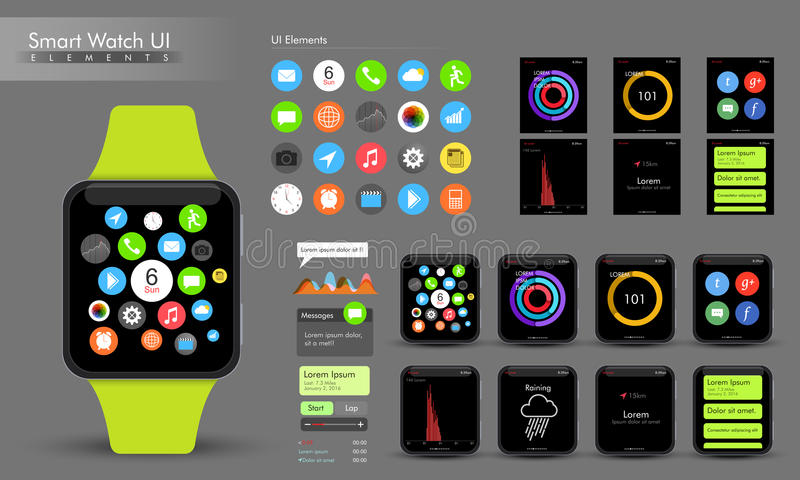 Creative Smart Watch UI elements. vector illustration