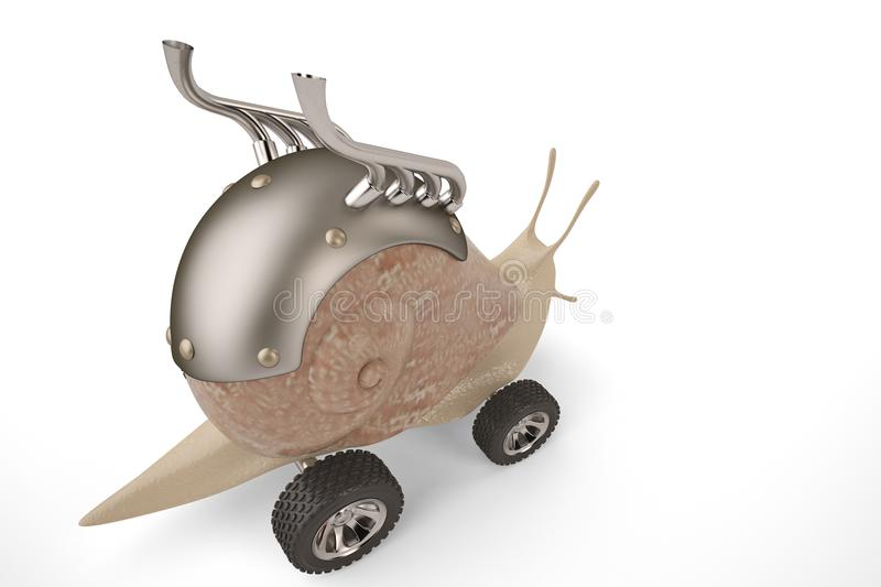 Creative snail car.3D illustration. vector illustration