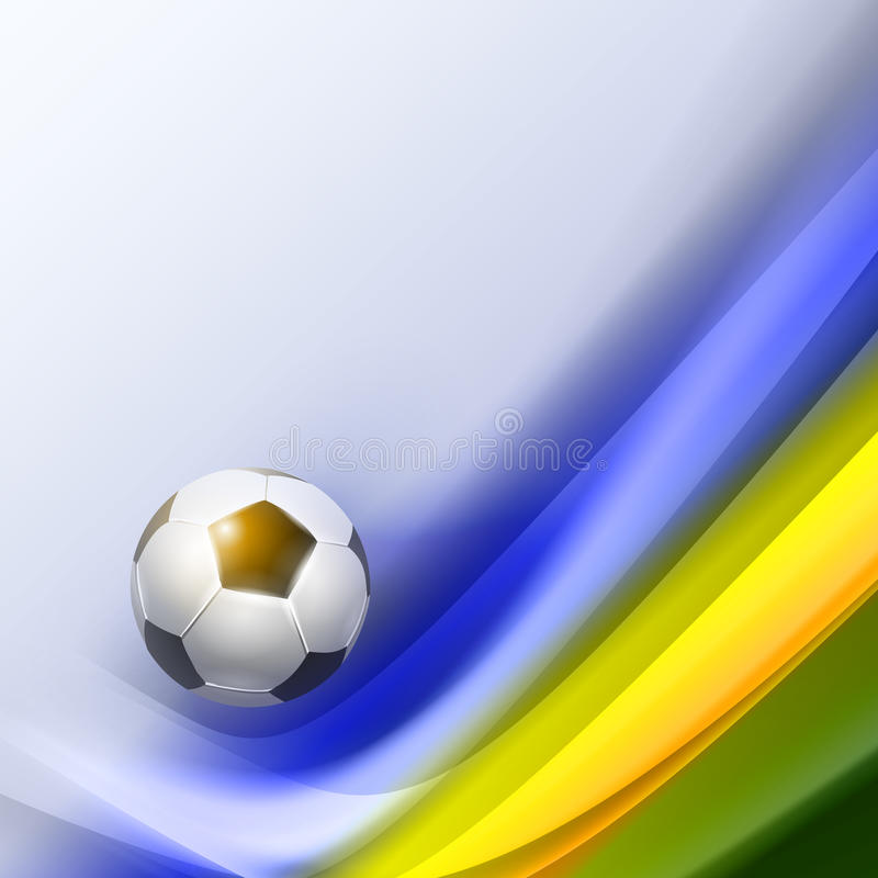 Creative Soccer Vector Design. With background in colors Brazil flag royalty free illustration