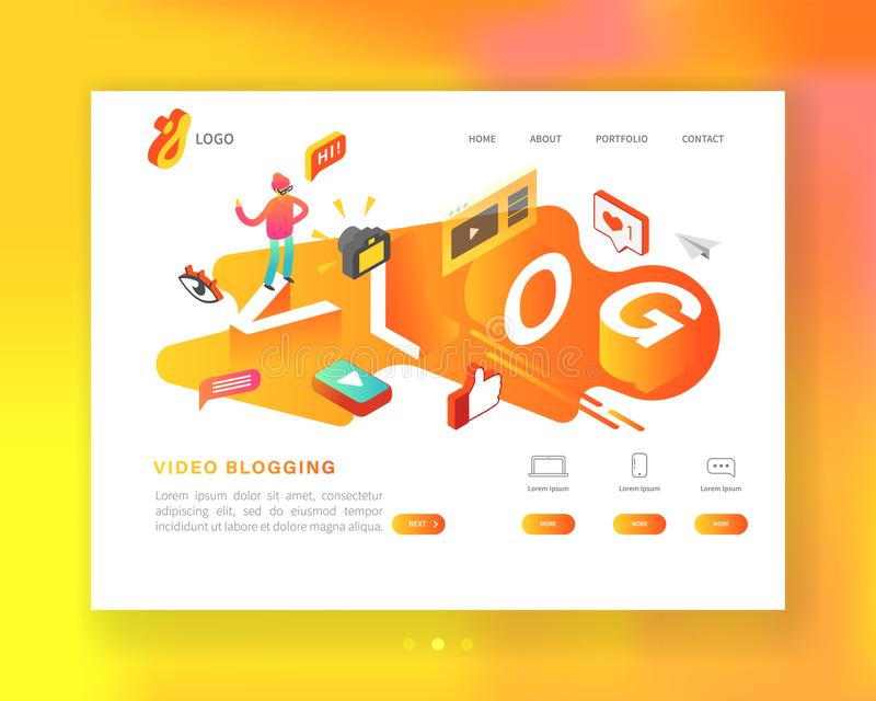 Creative Social Media Isometric Concept Landing page template. Video Blogging Content Marketing with Man Vlogger vector illustration