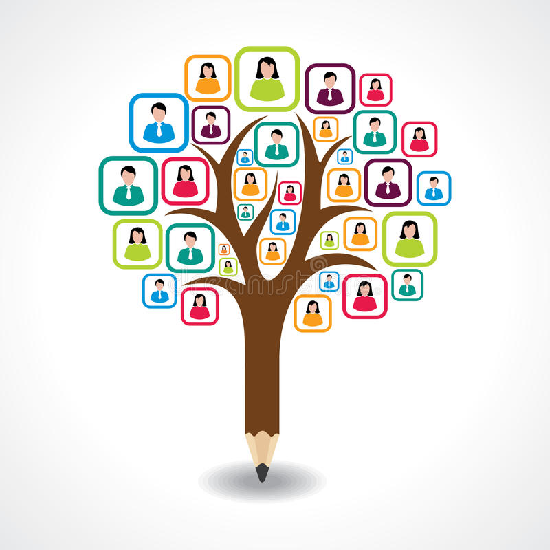 Creative social people tree design concept royalty free illustration