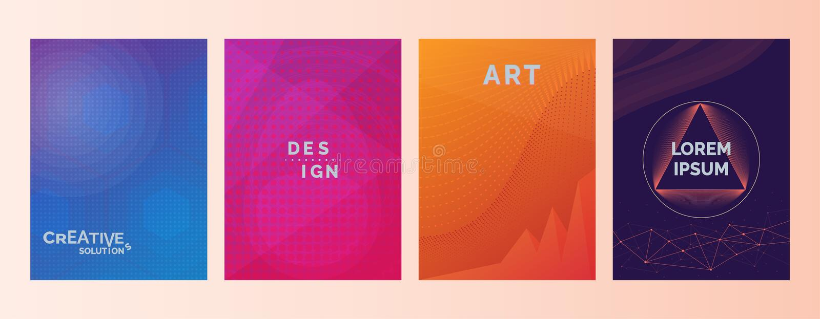 Creative solutions Design Art Lorem Ipsum text in abstract color gradient shapes background. Set of covers, brochures, flyer. Cool. Backgrounds, gradient royalty free illustration
