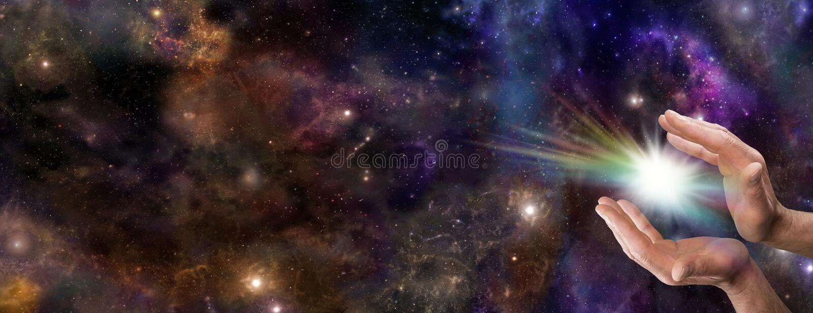 The Creative Spark. Wide deep space banner with male hands cupped and a rainbow colored spark between stock images