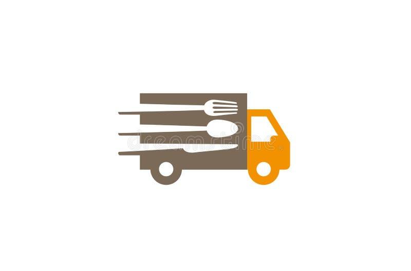 Creative Speed Truck Fork Spoon Knife Logo Design Vector Symbol Illustration. Creative Speed Truck Fork Spoon Knife Logo Design Vector Symbol stock illustration