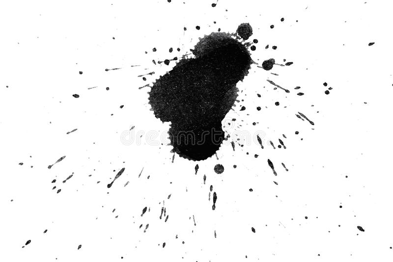 Creative splashing. Splashes black ink on white watercolor paper. monochrome image royalty free stock photography
