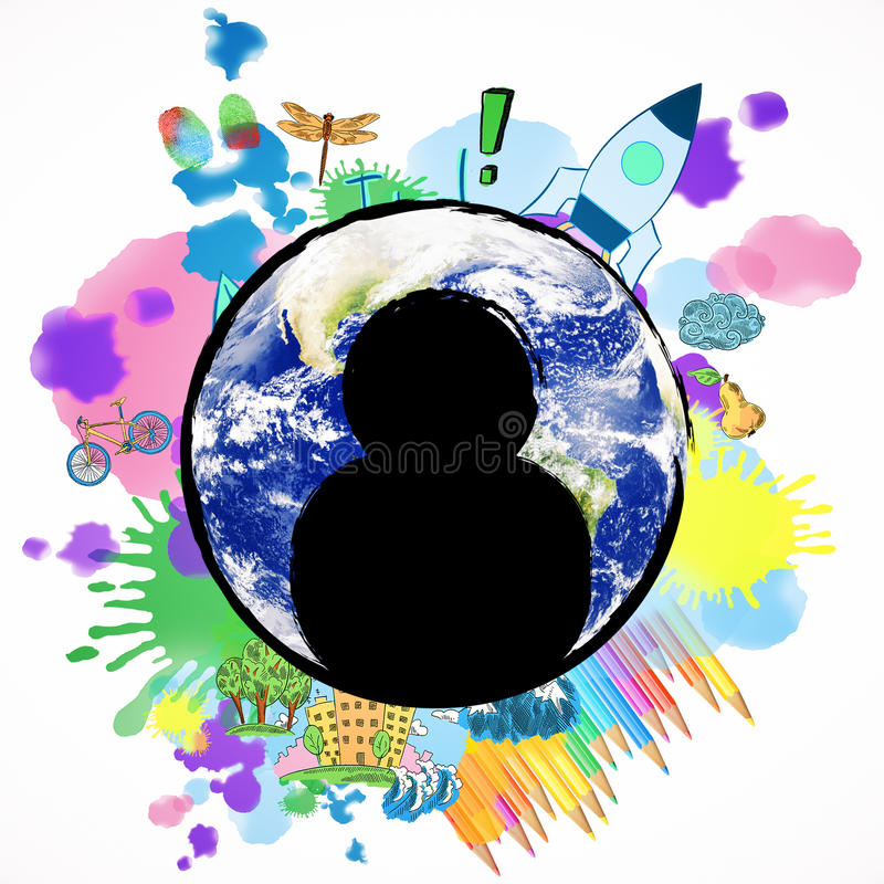 Creative staff concept. Abstract image of globe with human icons and colorful sketch. Creative staff concept. Elements of this image furnished by NASA vector illustration