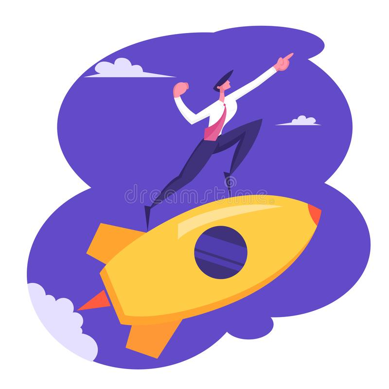 Creative Startup Rocket Launch. Business Man Character Fly on Space Ship Point Direction with Hand Start Project. Creative Startup Rocket Launch. Business Man stock illustration