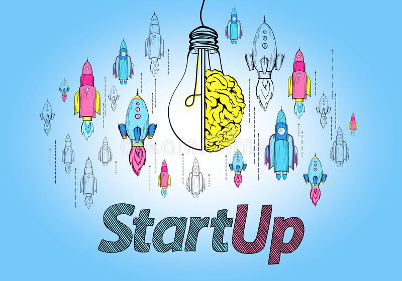 Startup and brainstorm concept stock illustration