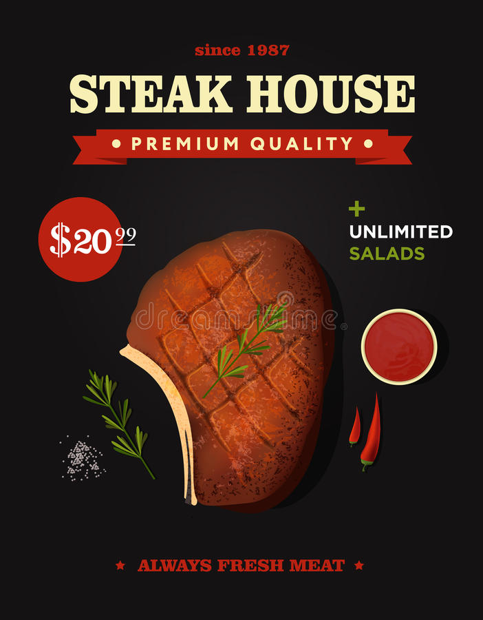 Creative steak house poster design. Realistic vector beef steak with bone. Top view. stock illustration