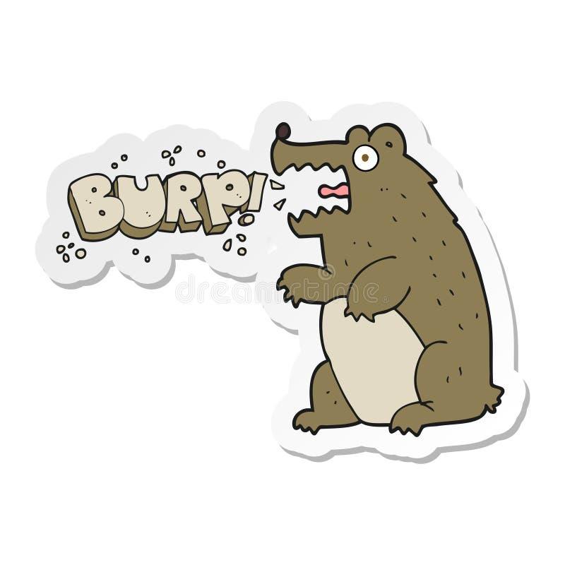 A creative sticker of a cartoon bear burping. An original creative sticker of a cartoon bear burping stock illustration