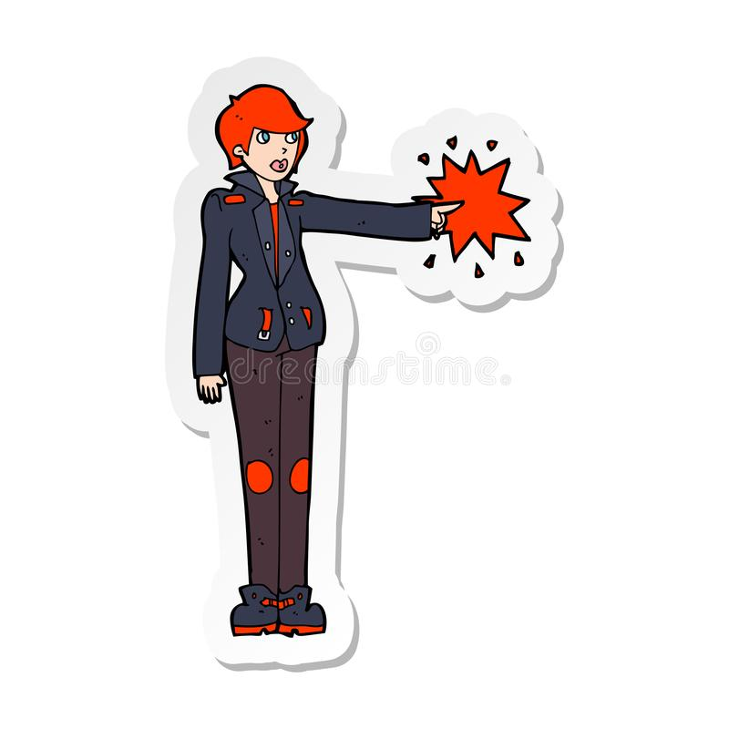 A creative sticker of a cartoon biker woman pointing. An original creative sticker of a cartoon biker woman pointing stock illustration