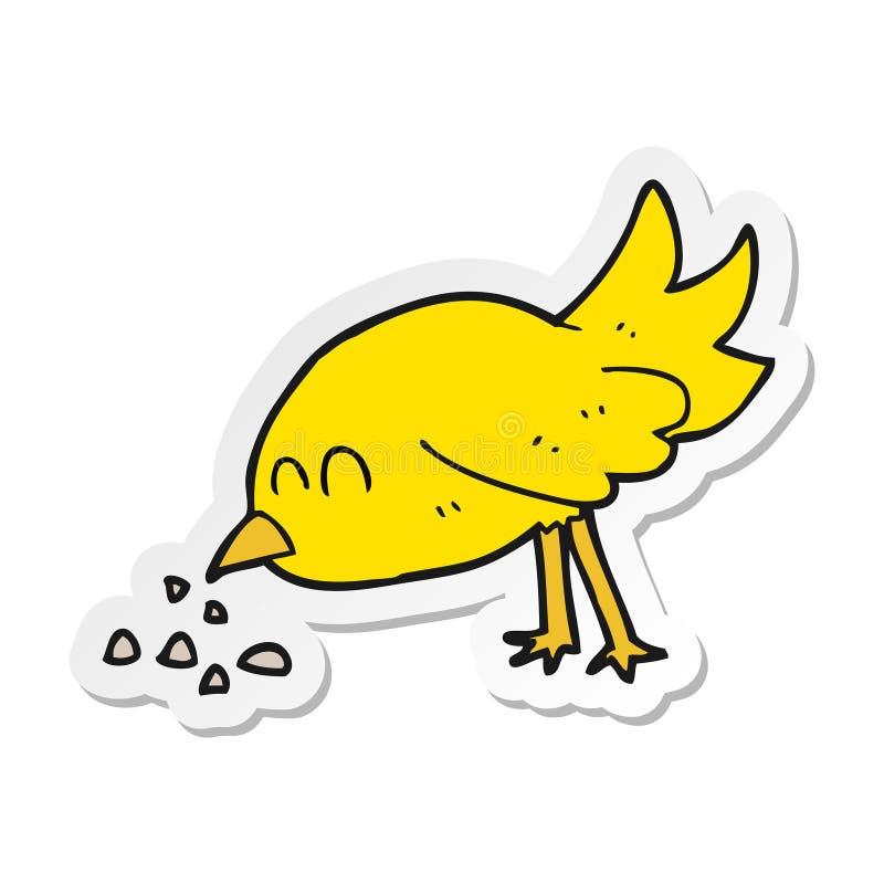 A creative sticker of a cartoon bird pecking seeds. An original creative sticker of a cartoon bird pecking seeds stock illustration