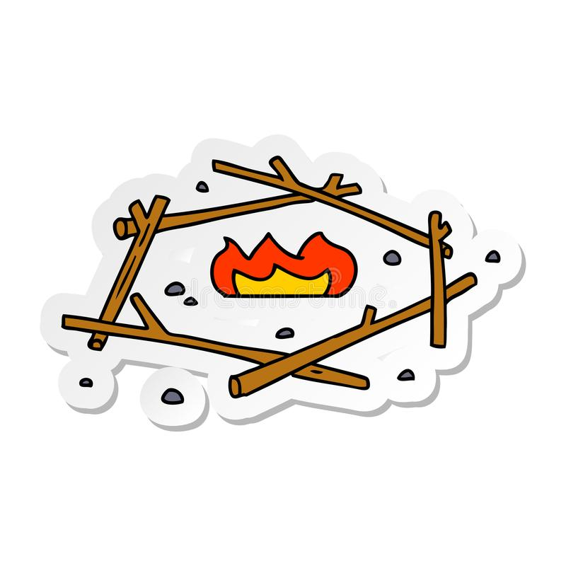 A creative sticker cartoon doodle of a camp fire. An original creative sticker cartoon doodle of a camp fire vector illustration