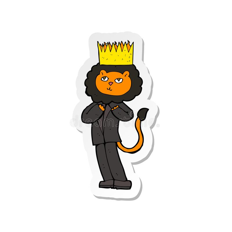 A creative sticker of a cartoon king of the beasts. An original creative sticker of a cartoon king of the beasts royalty free illustration