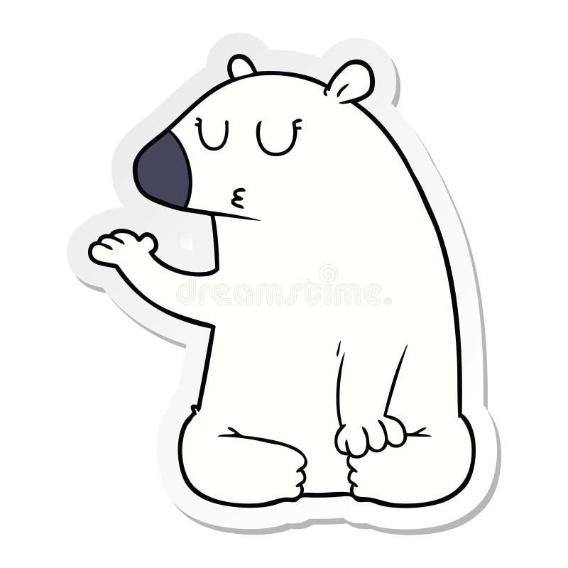 A creative sticker of a cartoon polar bear stock illustration