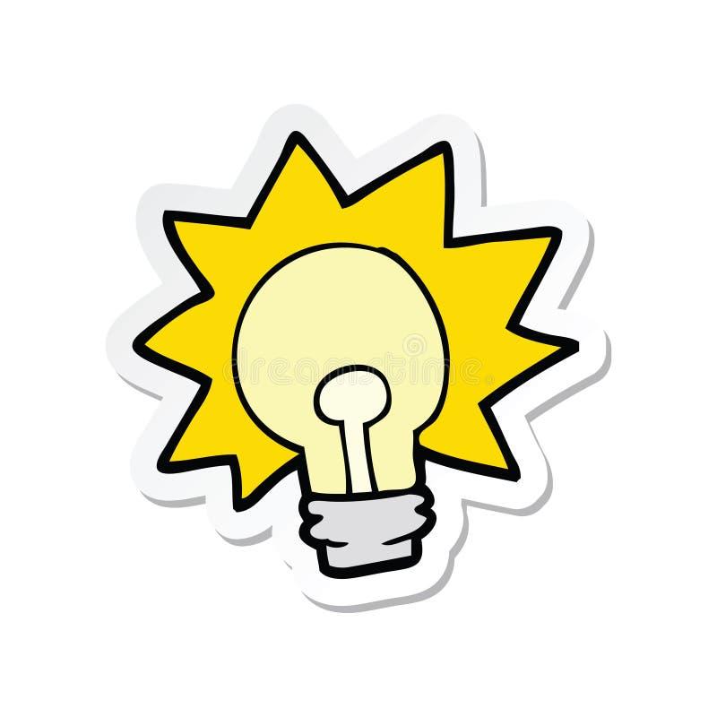 A creative sticker of a cartoon shining light bulb. An original creative sticker of a cartoon shining light bulb royalty free illustration