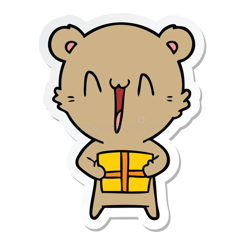 A creative sticker of a happy bear with gift cartoon. An original creative sticker of a happy bear with gift cartoon stock illustration