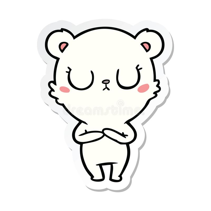 A creative sticker of a peaceful cartoon polar bear. An original creative sticker of a peaceful cartoon polar bear stock illustration