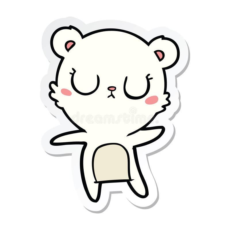 A creative sticker of a peaceful cartoon polar bear. An original creative sticker of a peaceful cartoon polar bear vector illustration