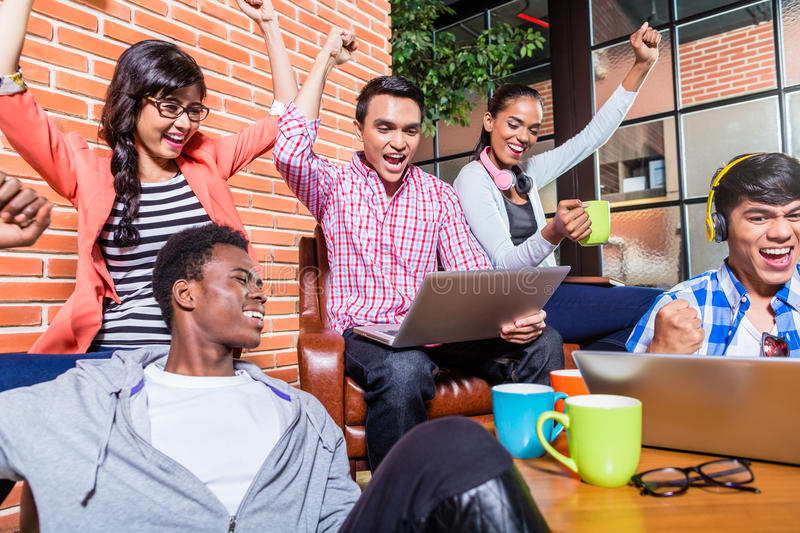 Creative students with aspirations having success. Being happy stock photos